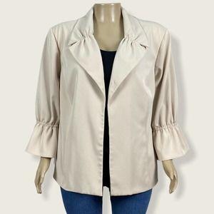 Maggie Barnes Cream Open Front Blazer Jacket PLUS